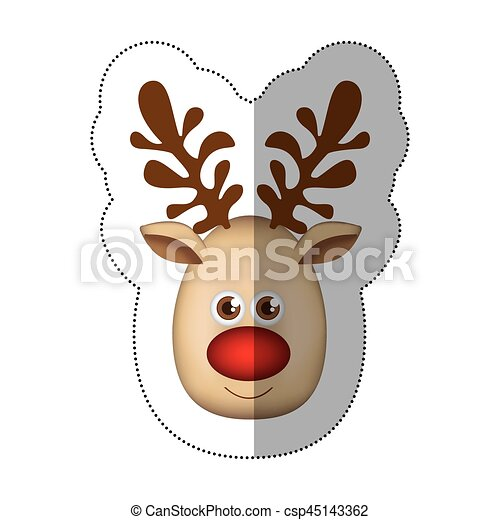 sticker colorful cartoon cute face reindeer animal vector clip rh canstockphoto com cute reindeer face clipart free cute reindeer clipart