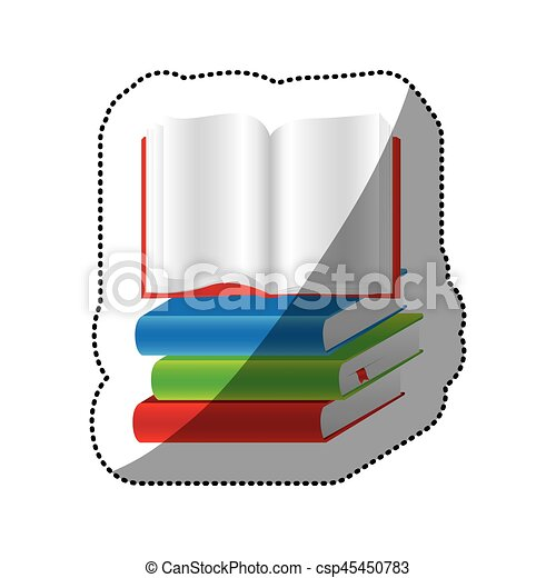 sticker colorful set stack school books with open book vector rh canstockphoto com open book graphics free