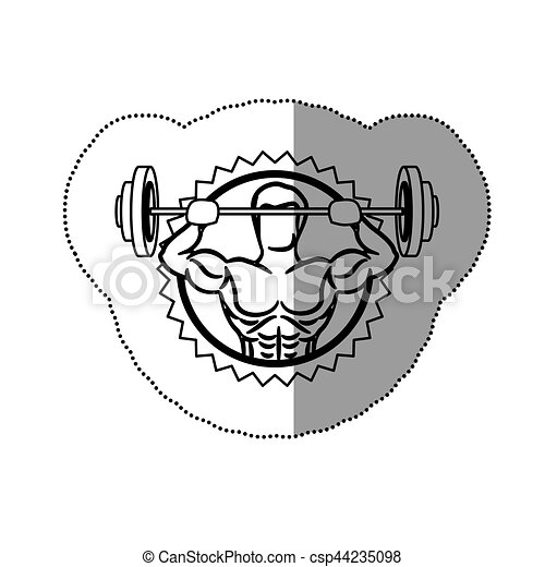 Sticker Contour Stamp Border With Muscle Man Lifting A Disc Weights