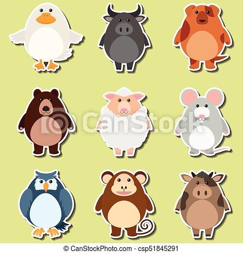 Sticker design for cute animals csp51845291