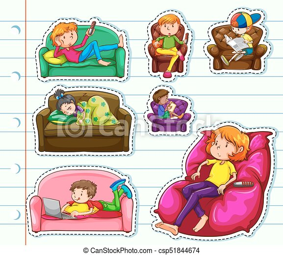Sticker design with people on sofa csp51844674