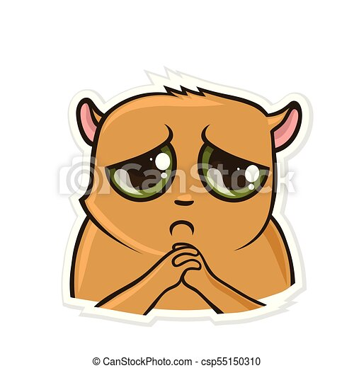 sticker for messenger with funny animal sad hamster vector rh canstockphoto com funny farm animal clipart funny animal clip art free