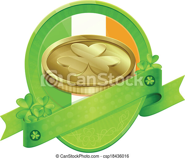 Sticker Gold Coin St Patrick's Day - csp18436016