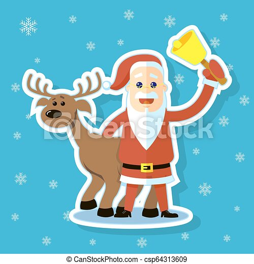 sticker illustration of a flat art cartoon Santa Claus with reindeer - csp64313609