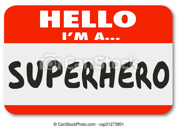 sticker, label, superhero, naam, hallo - csp31273801