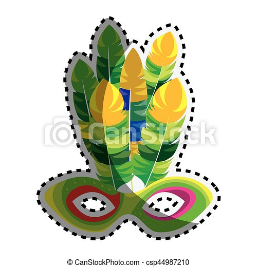 sticker multicolored mardi gras mask with feathers vector vector rh canstockphoto com feathers clipart png feathers clipart black and white