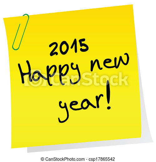 Sticker note with 2015 Happy New Year message - csp17865542