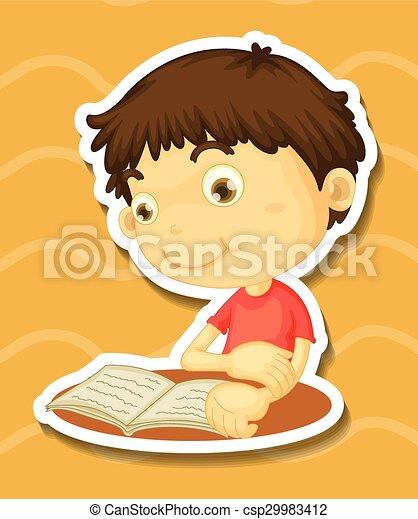 Sticker of a boy reading book - csp29983412