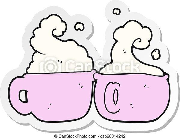 Sticker Of A Cartoon Coffee Cups