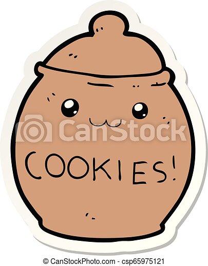 sticker of a cartoon cookie jar - csp65975121