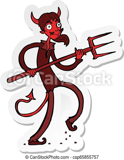 sticker of a cartoon devil with pitchfork - csp65855757