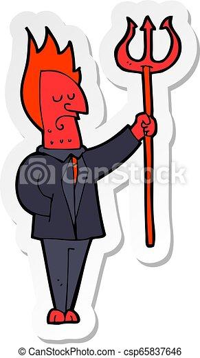sticker of a cartoon devil with pitchfork - csp65837646