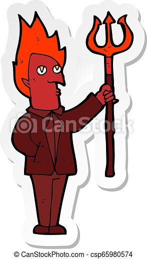sticker of a cartoon devil with pitchfork - csp65980574