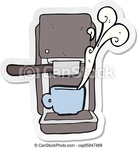 sticker of a cartoon espresso maker - csp65847489