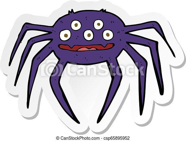 sticker of a cartoon halloween spider - csp65895952