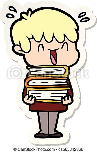 sticker of a cartoon laughing boy - csp65842366