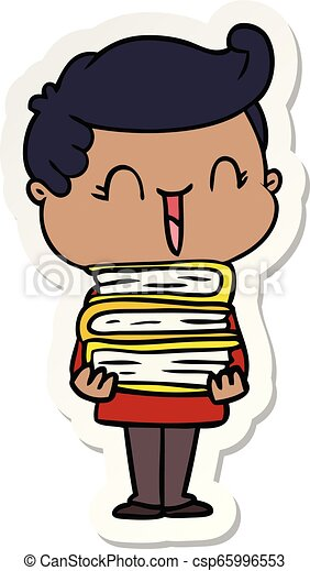 sticker of a cartoon laughing boy carrying books - csp65996553