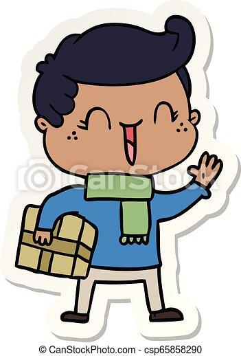 sticker of a cartoon laughing boy - csp65858290