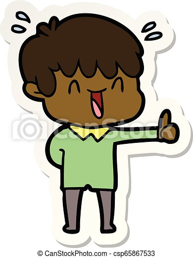 sticker of a cartoon laughing boy - csp65867533