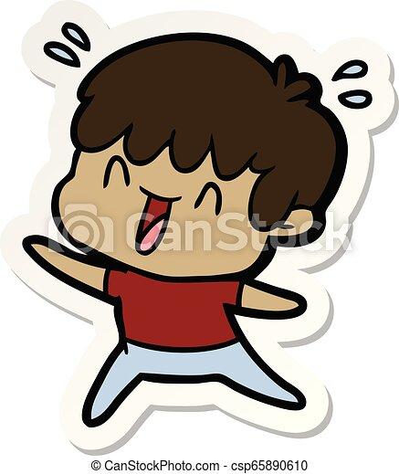 sticker of a cartoon laughing boy - csp65890610