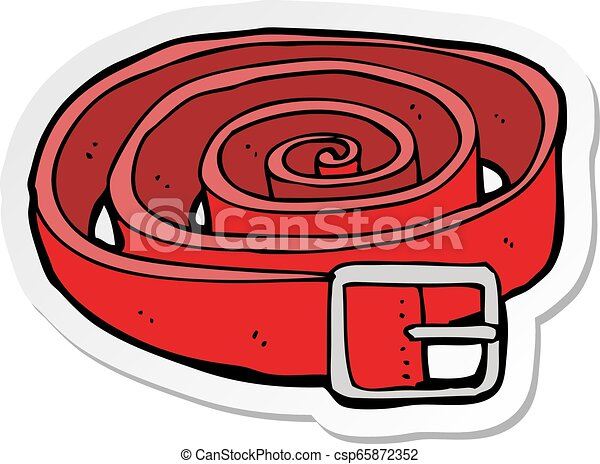 Sticker Of A Cartoon Leather Belt Canstock