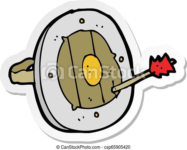 sticker of a cartoon shield with arrow - csp65905420