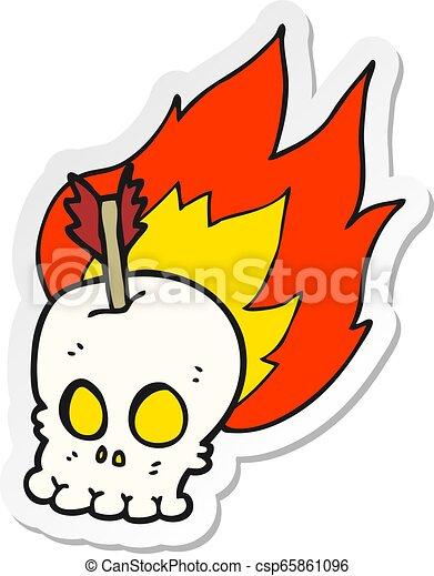 sticker of a cartoon skull with arrow - csp65861096