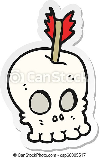 sticker of a cartoon skull with arrow - csp66005517