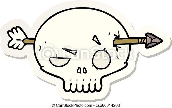 sticker of a cartoon skull with arrow - csp66014203