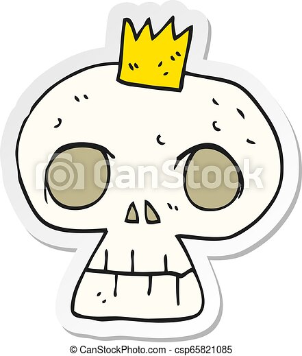 sticker of a cartoon skull with crown - csp65821085