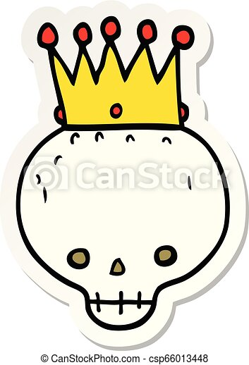 sticker of a cartoon skull with crown - csp66013448