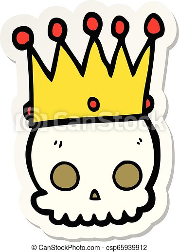sticker of a cartoon skull with crown - csp65939912