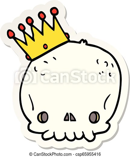 sticker of a cartoon skull with crown - csp65955416