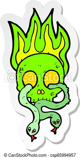 sticker of a cartoon skull with snakes - csp65994957