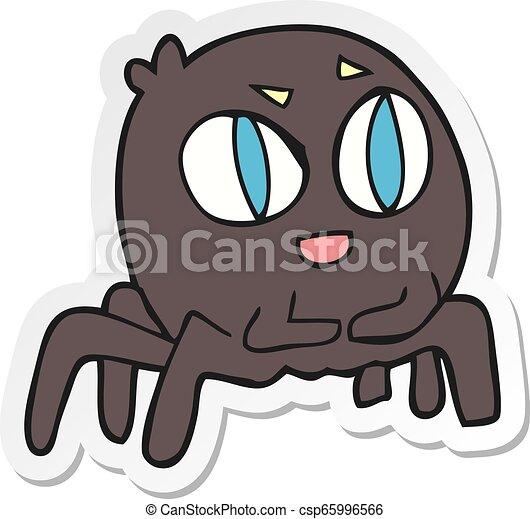 sticker of a cartoon spider - csp65996566