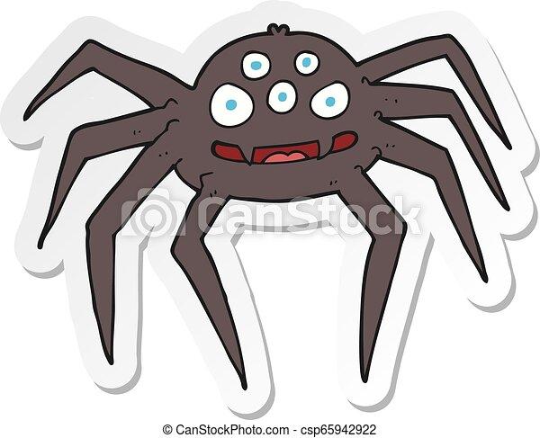 sticker of a cartoon spider - csp65942922