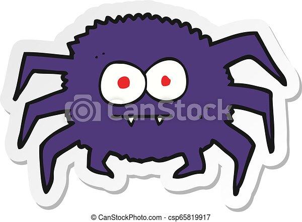 sticker of a cartoon spider - csp65819917
