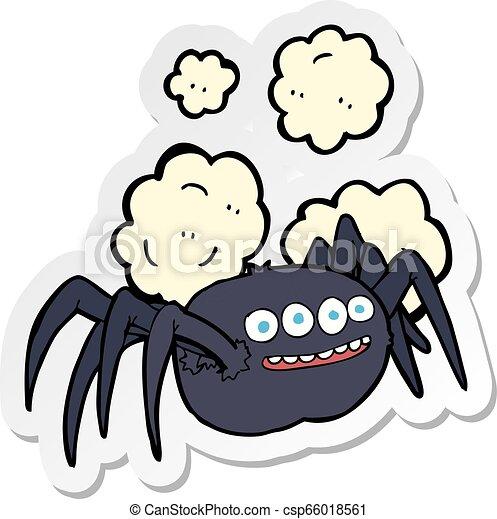 sticker of a cartoon spooky spider - csp66018561