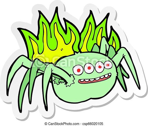 sticker of a cartoon spooky spider - csp66020105