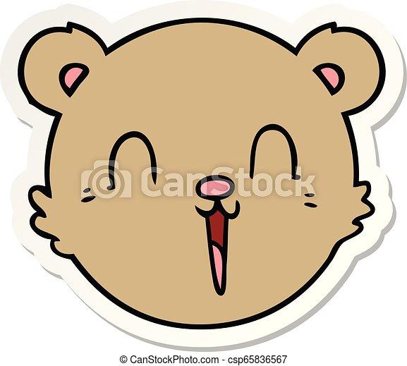 sticker of a cute cartoon teddy bear face - csp65836567