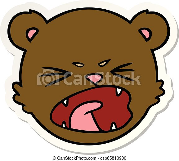 sticker of a cute cartoon teddy bear face - csp65810900