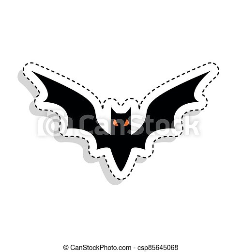 Sticker of a scary bat icon - csp85645068