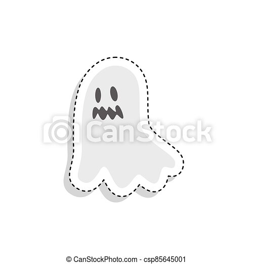 Sticker of a scary ghost icon - csp85645001