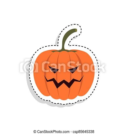 Sticker of a scary halloween pumpkin - csp85645338
