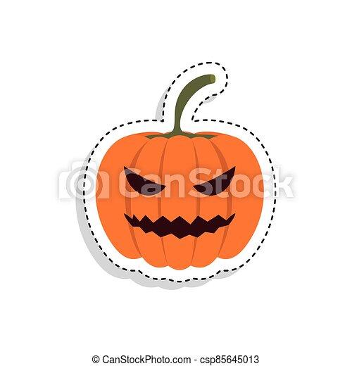 Sticker of a scary halloween pumpkin - csp85645013