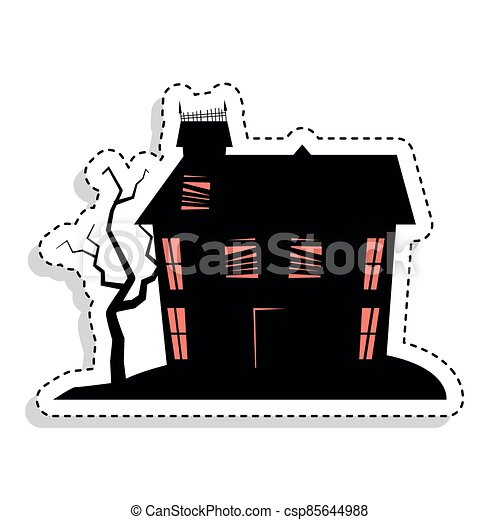 Sticker of a scary haunted house - csp85644988