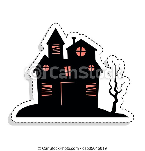Sticker of a scary haunted house - csp85645019