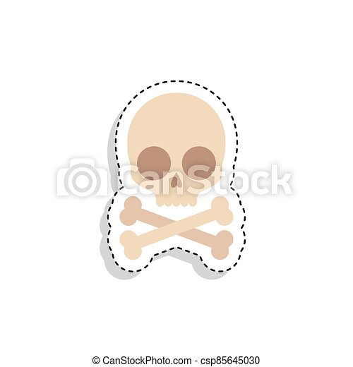 Sticker of a scary skull icon - csp85645030