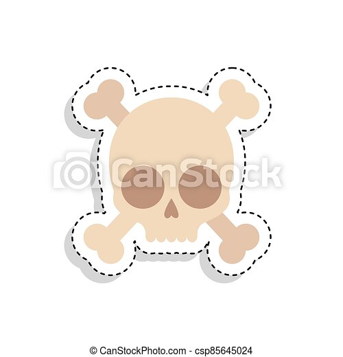 Sticker of a scary skull icon - csp85645024