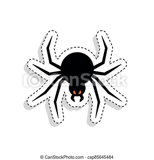 Sticker of a scary spider icon - csp85645484